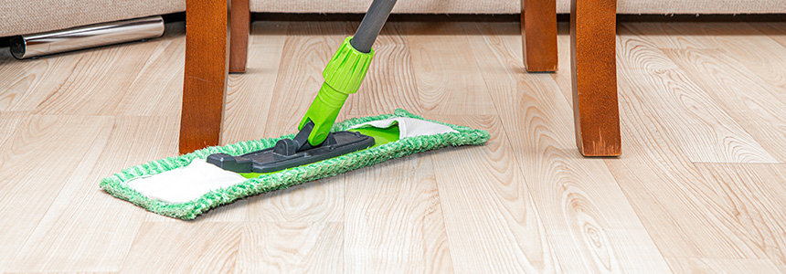 Swiping Laminate Floor with Mop